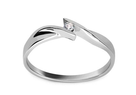 White Gold Engagement Ring with Diamond 0.030 ct Beauty 2