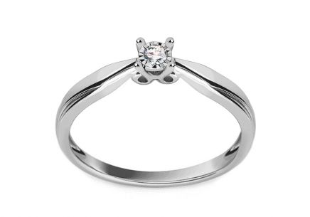 "White Gold Engagement Ring with Diamond 0.030 ct ""Suzette"""