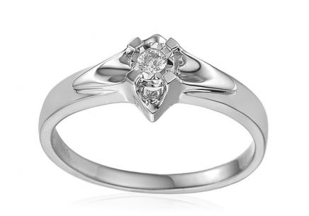 White Gold Engagement Ring with Diamond 0.050 ct Always