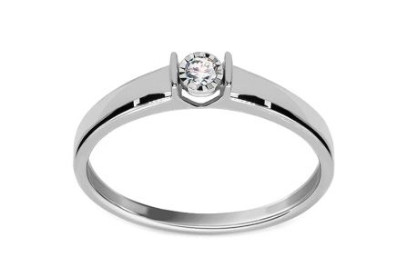 White Gold Engagement Ring with Diamond 0.050 ct Betsey