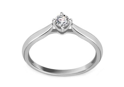 White Gold Engagement Ring with Diamond 0.050 ct Panthea