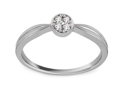 White Gold Engagement Ring with Diamond 0.060 ct Acasia