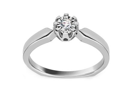 White Gold Engagement Ring with Diamond 0.070 ct