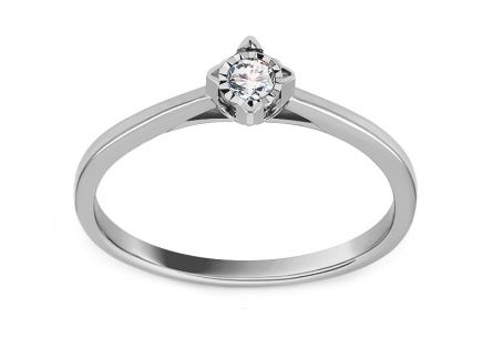 White Gold Engagement Ring with Diamond 0.070 ct Jumelle