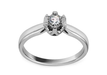 White Gold Engagement Ring with Diamond 0.080 ct Matty