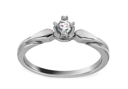 White Gold Engagement Ring with Diamond 0.080 ct Vicia