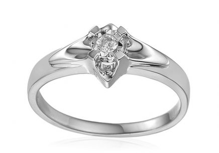White Gold Engagement Ring with Diamond 0.090 ct Always