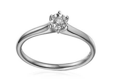 White Gold Engagement Ring with Diamond 0.090 ct Navi