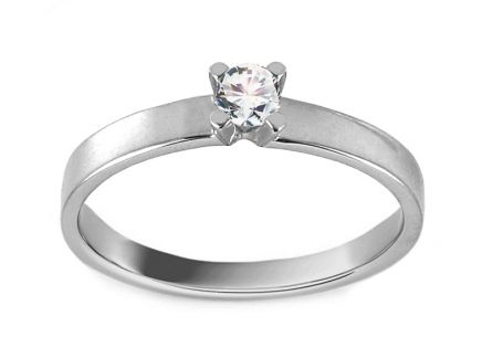 White Gold Engagement Ring with Diamond 0.100 ct Bibi