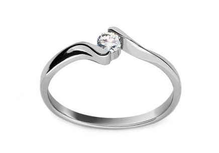 "White Gold Engagement Ring with Diamond 0.100 ct ""Frida"""