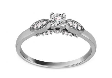 White Gold Engagement Ring with Diamond 0.100 ct Onagra