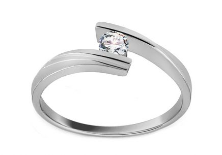 "White Gold Engagement Ring with Diamond 0.110 ct ""Combination of love"""