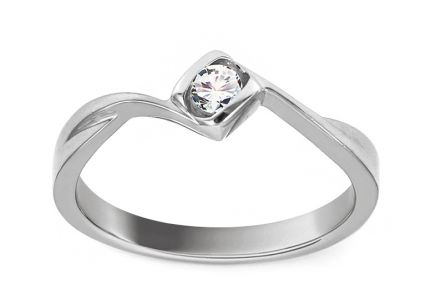 White Gold Engagement Ring with Diamond 0.110 ct Livia