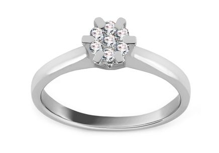 White Gold Engagement Ring with Diamond 0.130 ct Arlette