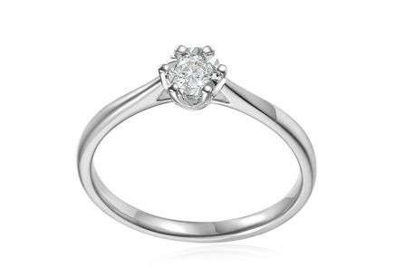 White Gold Engagement Ring with Diamond 0.140 ct