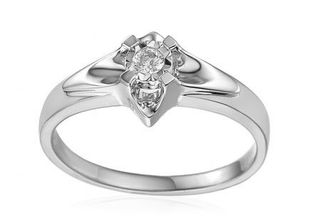White Gold Engagement Ring with Diamond 0.140 ct Always