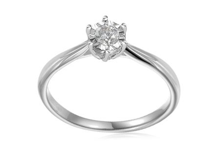 White Gold Engagement Ring with Diamond 0.150 ct