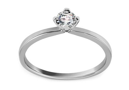 White Gold Engagement Ring with Diamond 0.150 ct Davignon