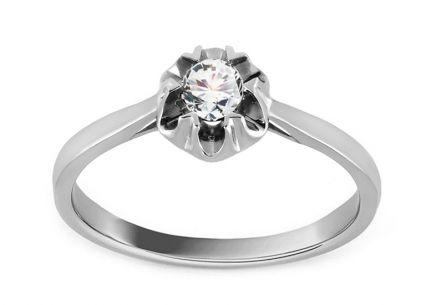 "White Gold Engagement Ring with Diamond 0.160 ct ""Ardiente"""