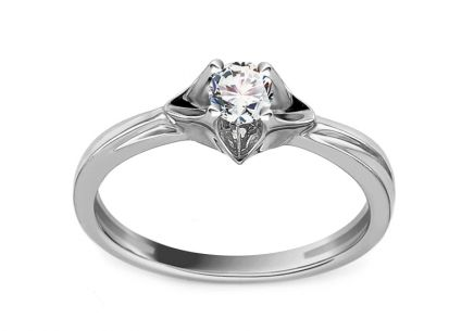 White Gold Engagement Ring with Diamond 0.170 ct Yvonne