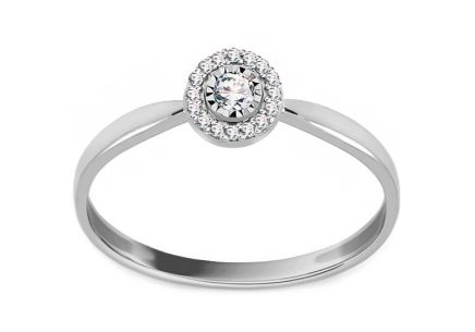 White Gold Engagement Ring with Diamonds 0.050 ct Almeda