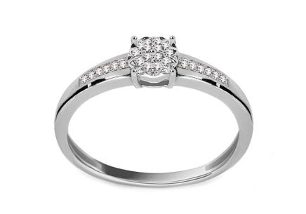 White Gold Engagement Ring with Diamonds 0.050 ct Moira