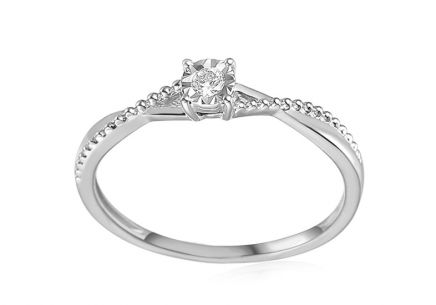White Gold Engagement Ring with Diamonds 0.060 ct Freira