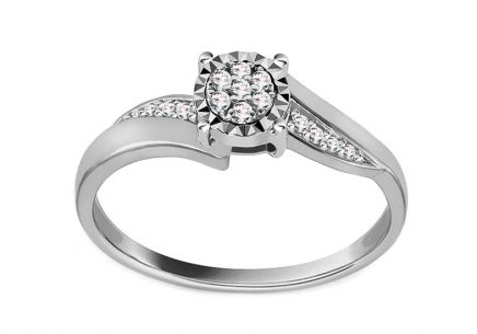 White Gold Engagement Ring with Diamonds 0.070 ct Maddie