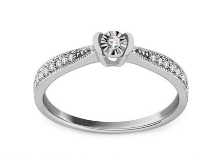 White Gold Engagement Ring with Diamonds 0.090 ct Lierre