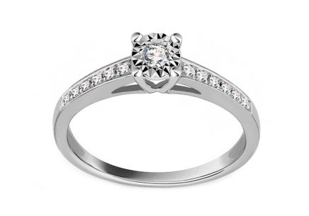 White Gold Engagement Ring with Diamonds 0.100 ct Addae