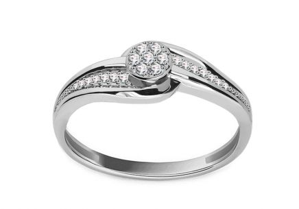 White Gold Engagement Ring with Diamonds 0.100 ct Analena