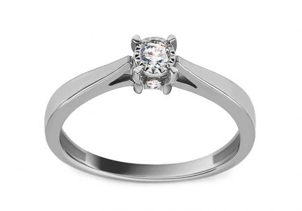 White Gold Engagement Ring with Diamonds 0.100 ct Ancolia