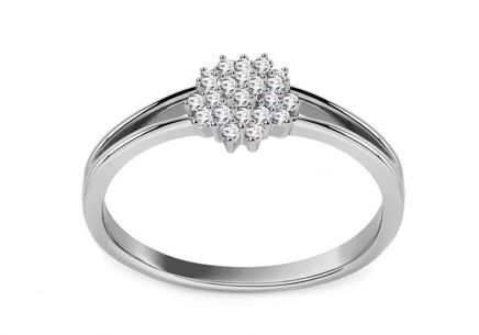 White Gold Engagement Ring with Diamonds  0.100 ct Floria