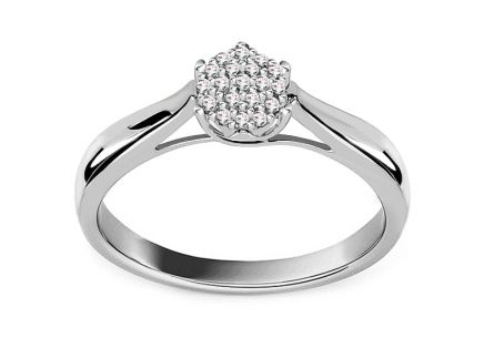 White Gold Engagement Ring with Diamonds 0.100 ct Myrtle