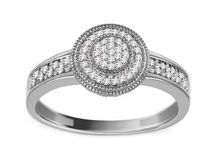 White Gold Engagement Ring with Diamonds 0.100 ct Neala