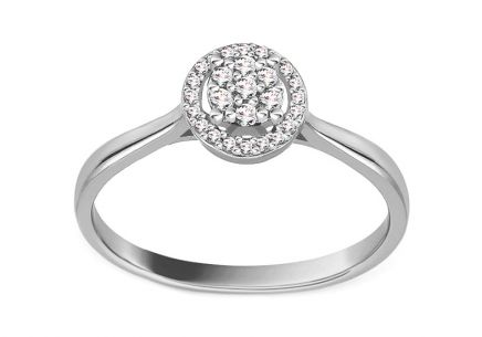 White Gold Engagement Ring with Diamonds 0.100 ct Peona