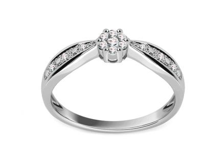 White Gold Engagement Ring with Diamonds 0.100 ct Rheanna