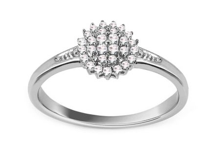 White Gold Engagement Ring with Diamonds 0.110 ct Julietta