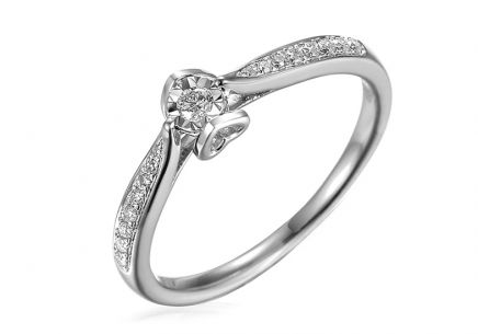 White Gold Engagement Ring with Diamonds 0.130 ct Evette