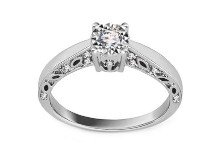 White Gold Engagement Ring with Diamonds 0.150 ct Cintia