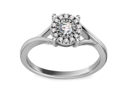 White Gold Engagement Ring with Diamonds 0.160 ct Nichole