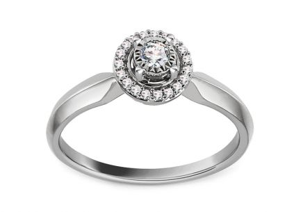 White Gold Engagement Ring with Diamonds 0.160 ct Pleasance