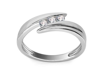 White Gold Engagement Ring with Diamonds 0.160 ct Zanita