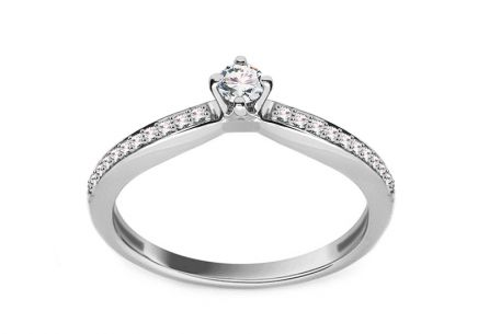 White Gold Engagement Ring with Diamonds 0.210 ct Vittoria