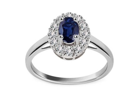 White gold engagement ring with sapphire and 0.050 ct Caliana diamonds