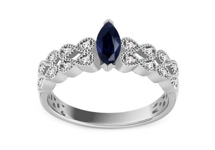 White Gold Engagement Ring with Sapphire and Diamonds 0.090 ct Tynice