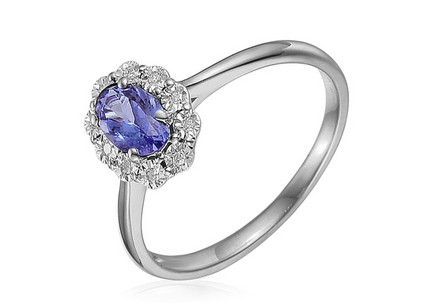 White Gold Engagement Ring with Tanzanite and Diamonds 0.030 ct Hallie 4
