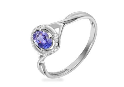 White Gold Engagement Ring with Tanzanite and Diamonds 0.040 ct Kesidy 4