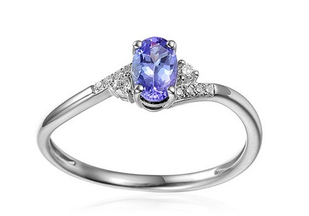 White Gold Engagement Ring with Tanzanite and Diamonds 0.050 ct Melinda 4