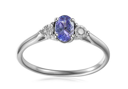 White Gold Engagement Ring with Tanzanite and Diamonds 0.080 ct Stenya 4